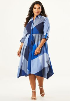 Shirtdress with Handkerchief Hem,