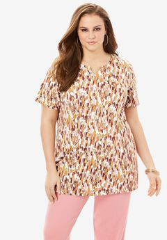 Print Notch Neck Tunic,