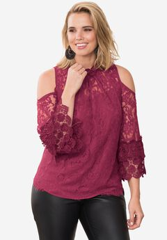 Cold-Shoulder Lace Tunic With Mock Neck,