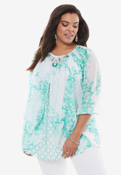 Embellished Print Top with Three-Quarter Sleeves, TROPICAL EMERALD PRINT