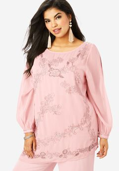 Beaded Illusion-Sleeve Top, PALE BLUSH