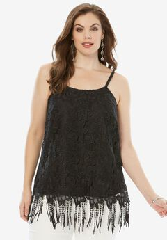 Scoopneck Lace Cami with Fringe Hem,