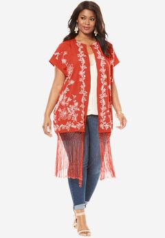 Embroidered Fringe Kimono Jacket,
