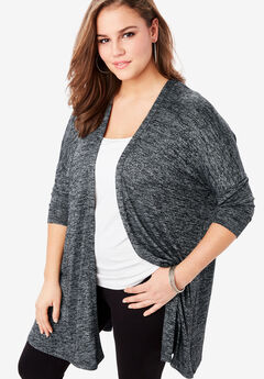 Supersoft Open-Front Cardigan with Pointed Hem, CHARCOAL