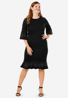 Bell-Sleeve Ponte Dress,