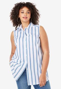 Sleeveless Kate Shirt, BLUE STRIPE
