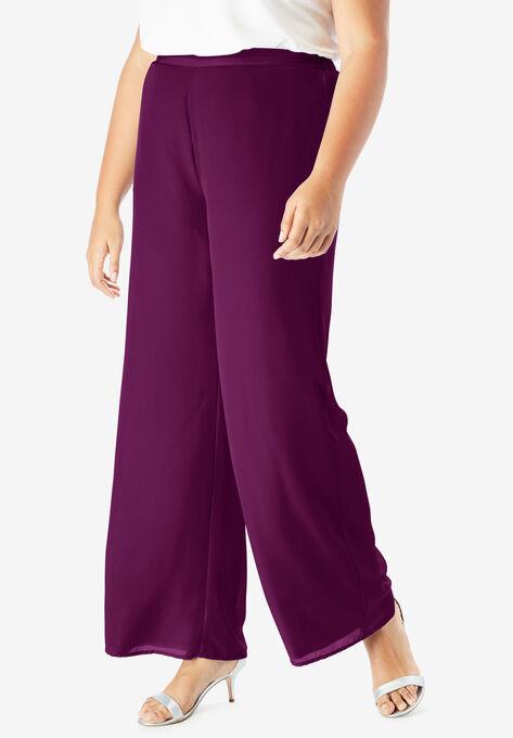 Georgette Wide-Leg Dress Pant