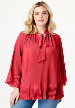 Bell Sleeve Bow Blouse, BRIGHT RUBY