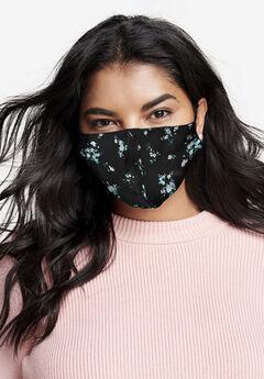 2-Layer Reusable Cotton Face Mask - Women's, BLACK WHITE FLORAL