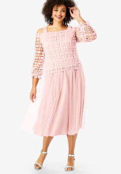 Lace Overlay Dress with Cold-Shoulder Detail, PALE BLUSH