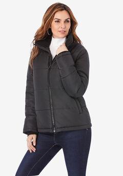 Short Puffer Jacket, BLACK