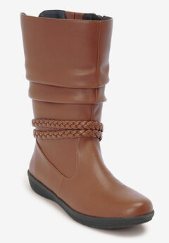 The Emberly Wide Calf Boot by Comfortview®, COGNAC