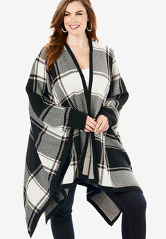 Plaid Poncho Cardigan, BLACK BOLD PLAID