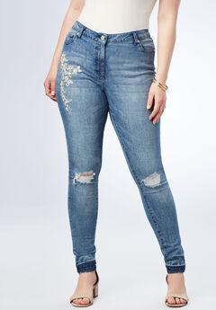 Pearls & Rhinestone Skinny Jean,