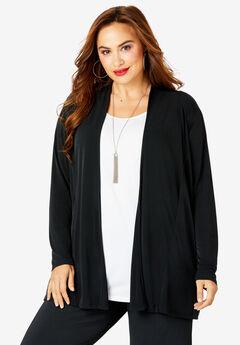 Open-Front Cardigan, BLACK