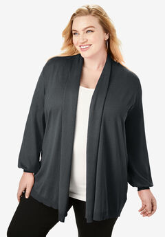 Fine Gauge Shawl-Collar Cardigan,