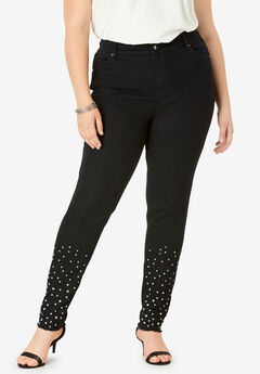 Rhinestone Jean by Denim 24/7®, BLACK