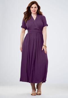 Wrap Maxi Dress in Crinkle,