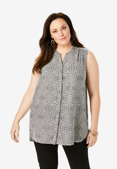 Sleeveless Georgette Blouse with Side Slits,