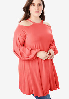 Cold-Shoulder Drape Tunic with Blouson Sleeves,