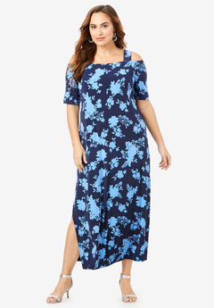 Ultra Smooth Cold-Shoulder Maxi Dress, NAVY ETCHED FLORAL