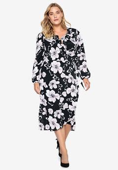 Ruffle-Trim Wrap Dress Castaluna , BLACK WHITE FLORAL