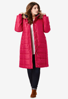 Midi-Length Quilted Parka with Hood, CLASSIC RED