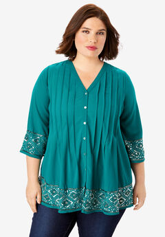 Beaded Pintuck Tunic, GEMSTONE GREEN