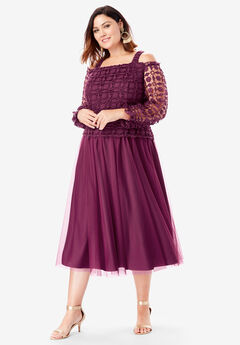 Lace Overlay Dress with Cold-Shoulder Detail, DEEP CLARET