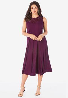 Sleeveless Lace-Trim Dress,
