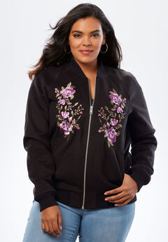 Embroidered Bomber Jacket, BLACK