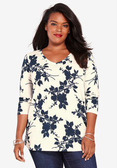 Long-Sleeve V-Neck Ultimate Tee, IVORY NAVY FLORAL