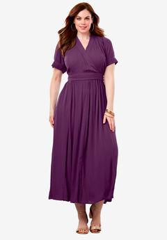 Wrap Maxi Dress in Crinkle, PURPLE TULIP