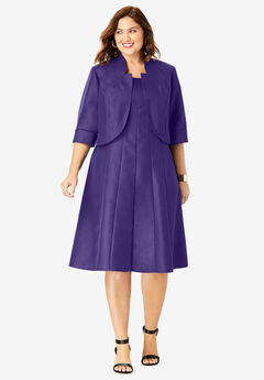 Fit-And-Flare Jacket Dress, MIDNIGHT VIOLET