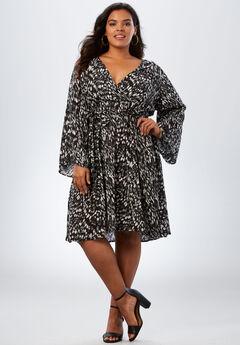 Bell-Sleeve Wrap Dress in Crinkle, BLACK GRAPHIC ANIMAL