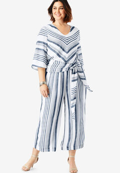 Crinkle Culotte Jumpsuit with Tie Belt,