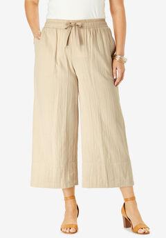 Gauze Wide-Leg Crop Pant, SANDY BEIGE