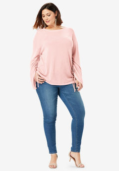 Drawstring Bell-Sleeve Sweater,
