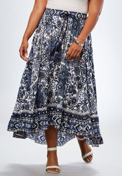 893e59f07d6 Border Print Skirt With High-Low Hem