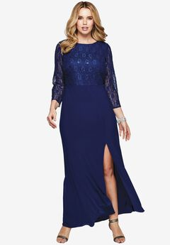 Sequin Lace Bodice Gown,
