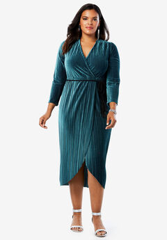 Velvet Faux Wrap Dress with Tassel Tie, MIDNIGHT TEAL