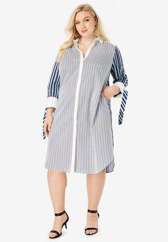 Tie-Sleeve Kate Shirtdress, BLUE WHITE STRIPE