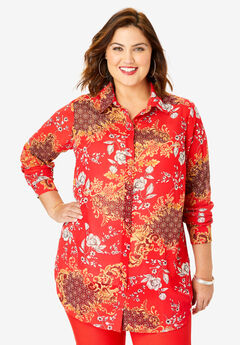 Georgette Tunic, RED TAPESTRY FLORAL