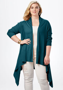 Fine Gauge Cardigan with Shawl Collar,