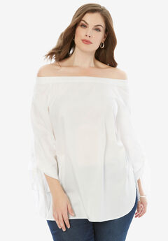 Off-The-Shoulder Tunic, WHITE