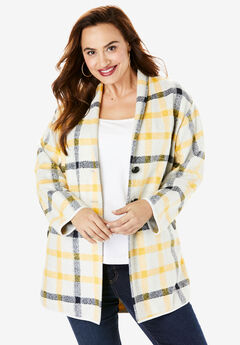 Plaid Car Coat, YELLOW HEATHER PLAID
