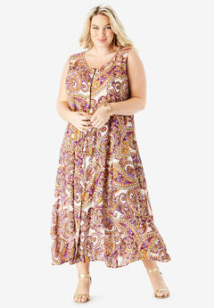 Button-Front Everywhere Crinkle Dress, MULTI PAISLEY