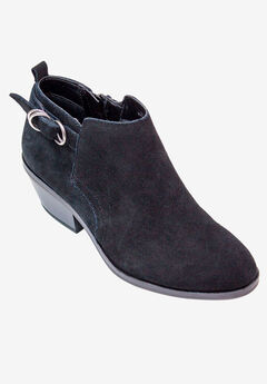 Sadie Bootie by White Mountain, BLACK SUEDE