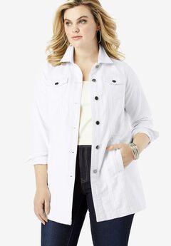 Long Denim Jacket, WHITE