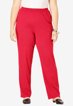 Soft Knit Straight-Leg Pant, VIVID RED